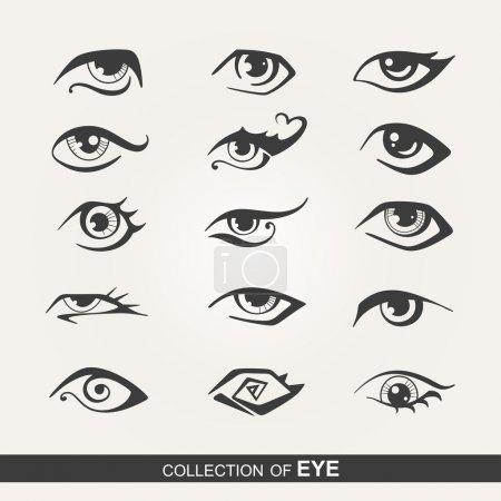 Illustration pour Ensemble stylisé d'yeux - image libre de droit