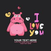 Cute hroch v lásce romantické ilustrace