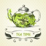 Kettle green tea. Hand drawn sketch illustration. ...