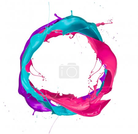 Photo for Colored paints splashes circle, isolated on white background - Royalty Free Image