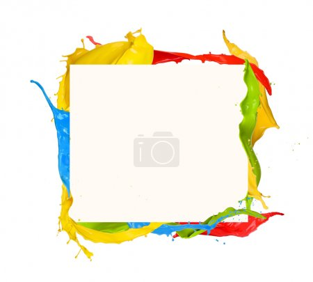 Photo pour Plan isolé de peinture colorée cadre éclaboussure sur fond blanc - image libre de droit