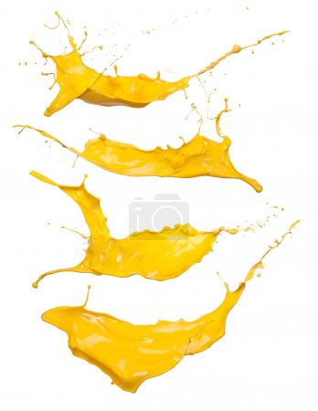 Photo for Shot of yellow paint splashes, isolated on white background - Royalty Free Image