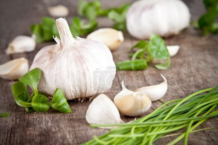 Photo for Fresh garlic on wooden table - Royalty Free Image