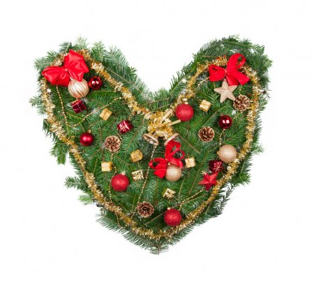 Photo for Christmas heart isolated on white background - Royalty Free Image