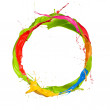 Colored paints splashes circle, isolated on white ...