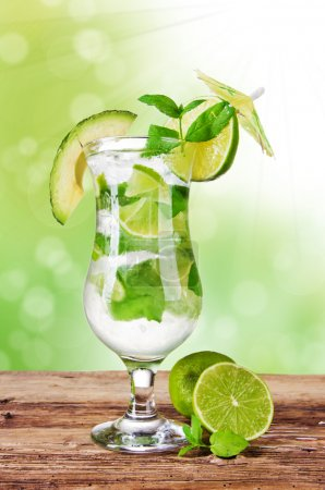 Photo for Fresh mojito drink with blur green background - Royalty Free Image