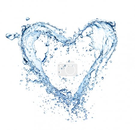 Photo for Heart symbol made of water splashes, isolated on white backgRound - Royalty Free Image