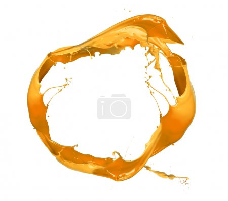 Photo for Yellow paint splashes circle, isolated on white background - Royalty Free Image