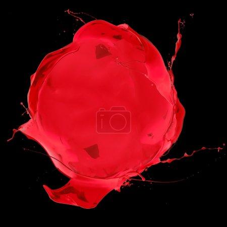 Photo for Red paint splashes circle, isolated on black background - Royalty Free Image