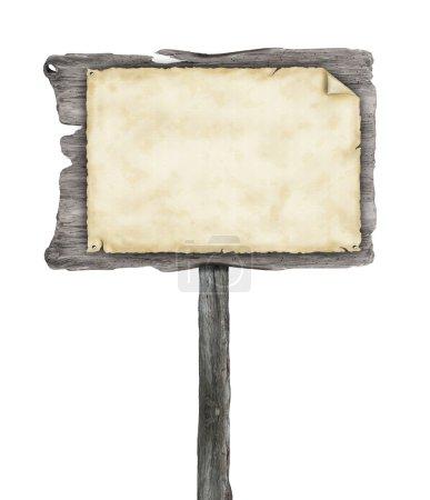 Photo pour Panneau vide en bois avec papier blanc, isolé sur fond blanc - image libre de droit