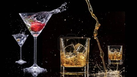 Photo for Alcohol drinks with splashes, isolated on black background - Royalty Free Image
