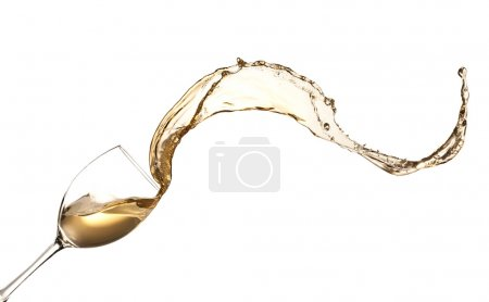 Photo for White wine splashing out of glass, isolated on white background - Royalty Free Image