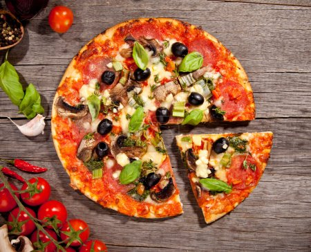 Photo for Fresh italian pizza, upper view - Royalty Free Image