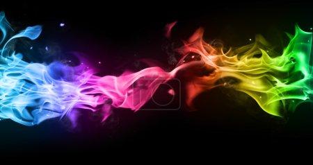 Photo pour Fumée colorée isolée sur fond noir - image libre de droit