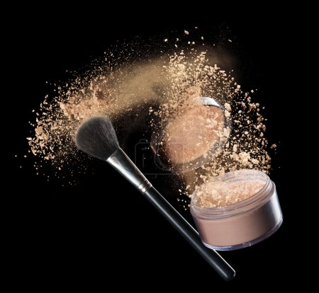 Photo for Isolated make-up powder with brush on black background - Royalty Free Image