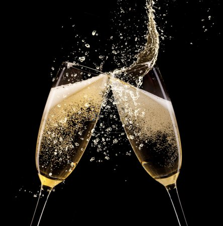 Photo for Glasses of champagne with splash, isolated on black - Royalty Free Image