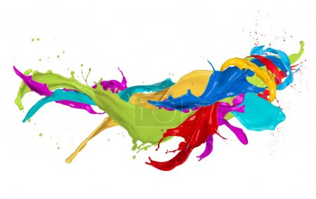 Photo for Colored splashes isolated on white background - Royalty Free Image