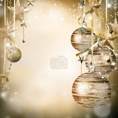 Photo for Christmas decoration on blur gold background - Royalty Free Image