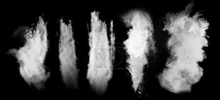 Photo for Freeze motion of white dust explosion isolated on black background - Royalty Free Image