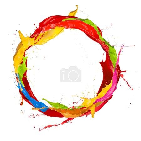 Photo for Paint splashes circle isolated on white background - Royalty Free Image
