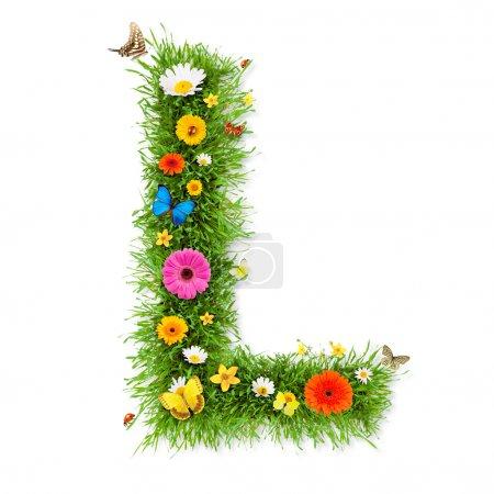 """Photo pour Herbe fraîche lettre printanière """"L"""" avec fleurs et papillons en fleurs, isolée sur fond blanc - image libre de droit"""