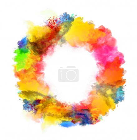 Photo for Freeze motion of colored dust in round shape isolated on white background - Royalty Free Image