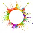 Abstract colored splashes in round shape with free...