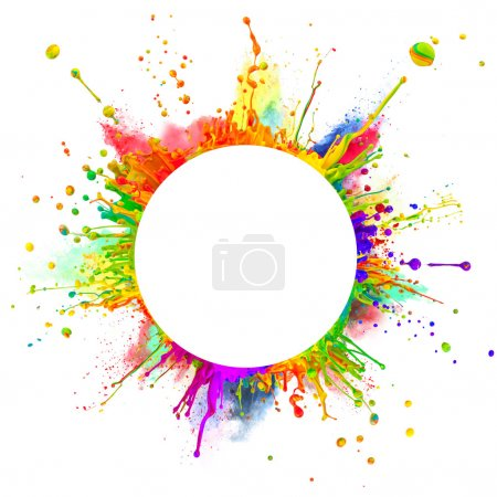 Photo pour Coup de Super macro des éclaboussures de peinture colorée et poudre « danser » sur les ondes sonores. en forme arrondie avec un espace libre pour le texte. isolé sur fond blanc - image libre de droit