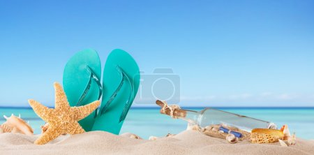 Photo for Summer beach with accessories - Royalty Free Image