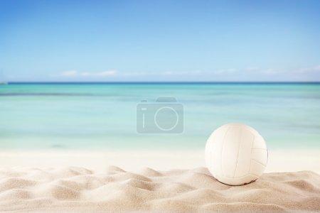 Beach volleyball ball on sandy