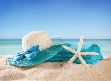 Photo for Summer sandy beach with accessories - Royalty Free Image