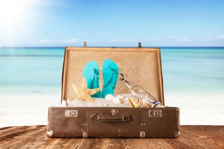 Travel concept with summer sandy beach