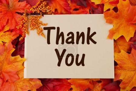 Photo pour Carte de remerciement avec feuilles d'automne, reconnaissante à Thanksgiving - image libre de droit