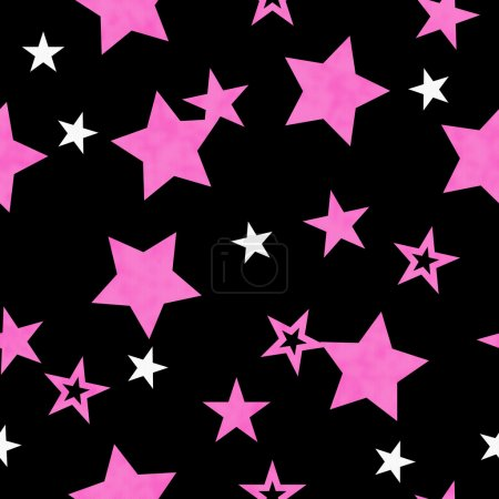 Purple, White and Black Star Fabric Background