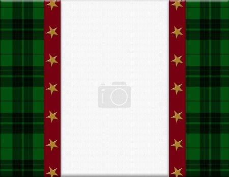 plaid vert, cadre rouge et une étoile à votre message ou invitation