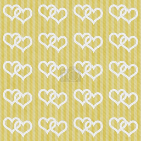 Yellow and White Interlocking Hearts and Stripes Textured Fabric