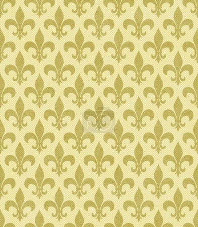 Yellow Fleur De Lis Textured Fabric Background