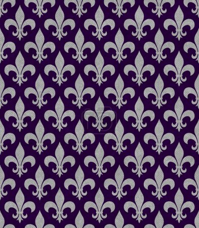 Purple and Gray Fleur De Lis Textured Fabric Background