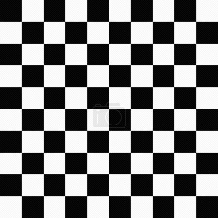 Black and White Checkers Textured Fabric Backgroun...