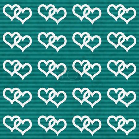 White Interwoven Hearts and Teal Thin Stripes Horizontal Texture