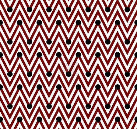 Red and White Horizontal Chevron Striped with Polka Dots Backgro