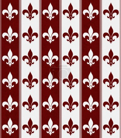 White and Red Fleur De Lis Textured Fabric Background