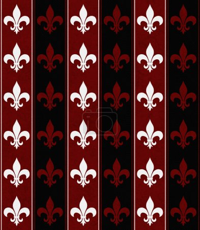 White, Black and Red Fleur De Lis Textured Fabric Background