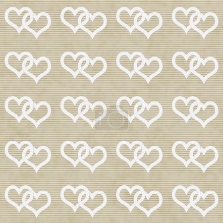 White Interwoven Hearts and Beige Thin Stripes Horizontal Textur