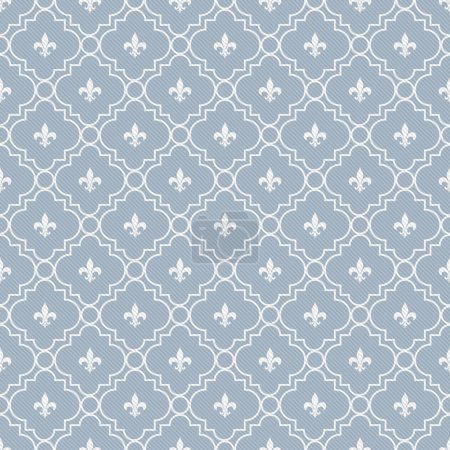 Photo for White and Pale Blue Fleur-De-Lis Pattern Textured Fabric Background that is seamless and repeats - Royalty Free Image