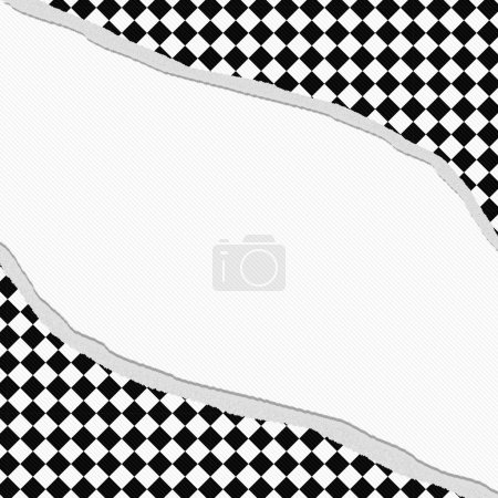 Black and White Diamond Checkered Frame with Torn Background