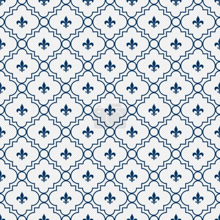 White and Blue Fleur-De-Lis Pattern Textured Fabric Background
