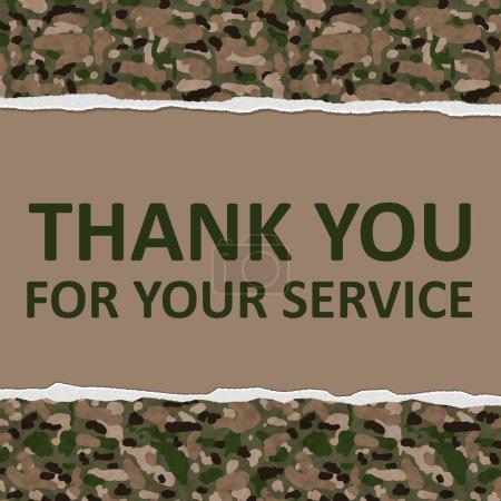 Photo pour Camouflage fond déchiré avec texte Merci pour votre service, Merci pour votre service - image libre de droit