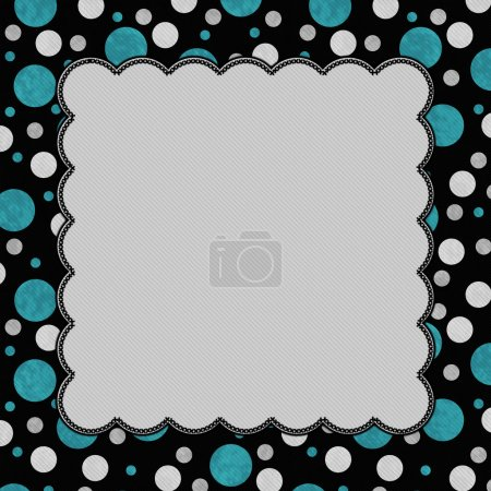 Teal, Gray and Black Polka Dots Frame with Embroidery Background