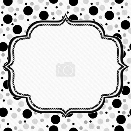 White, Gray and Black Polka Dots Frame with Embroidery Backgroun